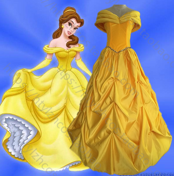 Beauty and the Beast Halloween Princess belle Dress yellow party fancy Cosplay costume