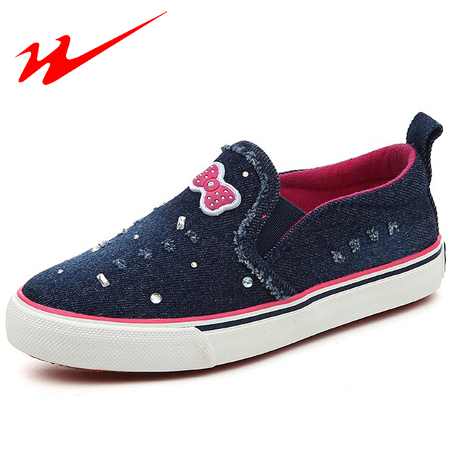 DOUBLE STAR Little Kids Shoes Bowtie Children Shoes With Rhinestones Lovely Girls Flat Outdoor Walking Shoes Big Kid Sneakers