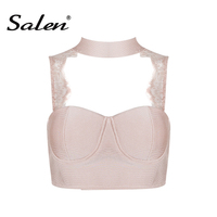 2017 New Sexy Women Black White Pink Bandage Lace Tank Crop Tops