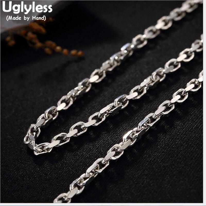 Uglyless Real 925 Sterling argent Collier chaînes sans pendentif hommes femmes unisexe Chokers Bijoux fins 8 longueurs Bijoux Collier