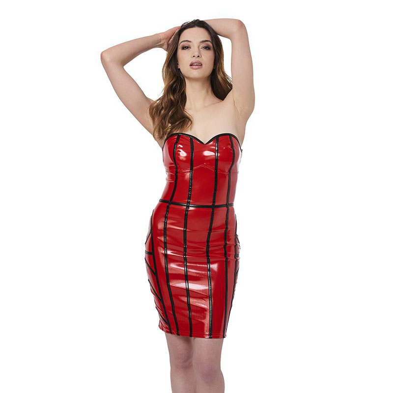 Dower Me Sexy Woman Red Strapless Vinyl Leather Corset Dresses Lace Up Mini Plaid Party Club Hot Night Sheath Clubwear Robe