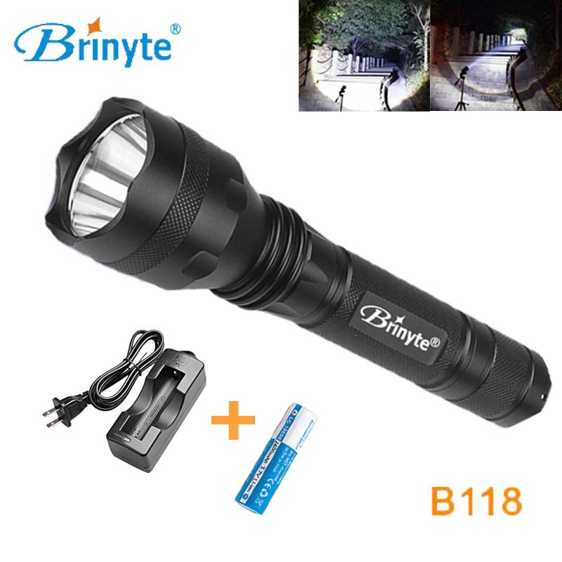 Brinyte B118 Cree XML L2 U4 Outdoor LED Handheld Flashlight 18650 Night Hunting Flashlight Mini Waterproof LED Flashlight Torch 1050lm waterproof brinyte high power led flashlight lamp handheld xm l2 u2 led torch flash light