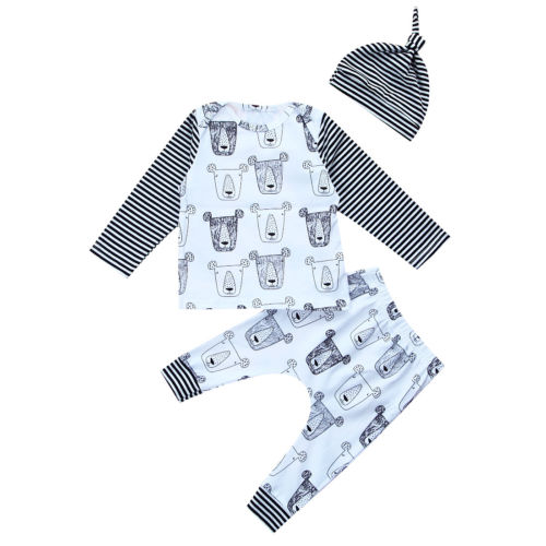 Infant Newborn Baby Boys Girls Clothes Cotton Long Sleeve Printed T-shirt Tops+Pants Outfits Set