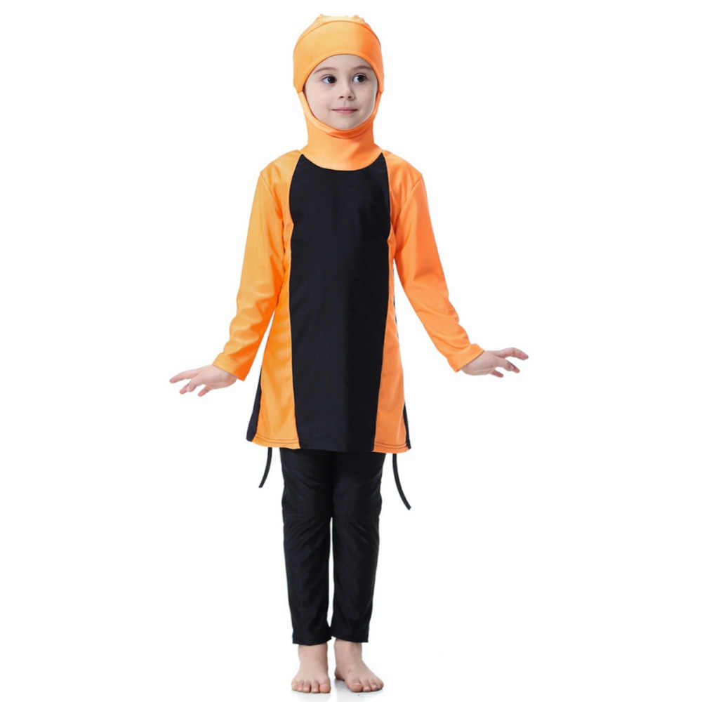 ילדים בנות אסלאמי מוסלמי בגדי ים צנוע Fit מלא כיסוי ילדים שתי חתיכה ערבי בגד ים 3 צבע