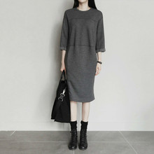 NiceMix New Autumn Women Dress Cotton Threee Quarter Sleeve Spliced Dresses Plus Size