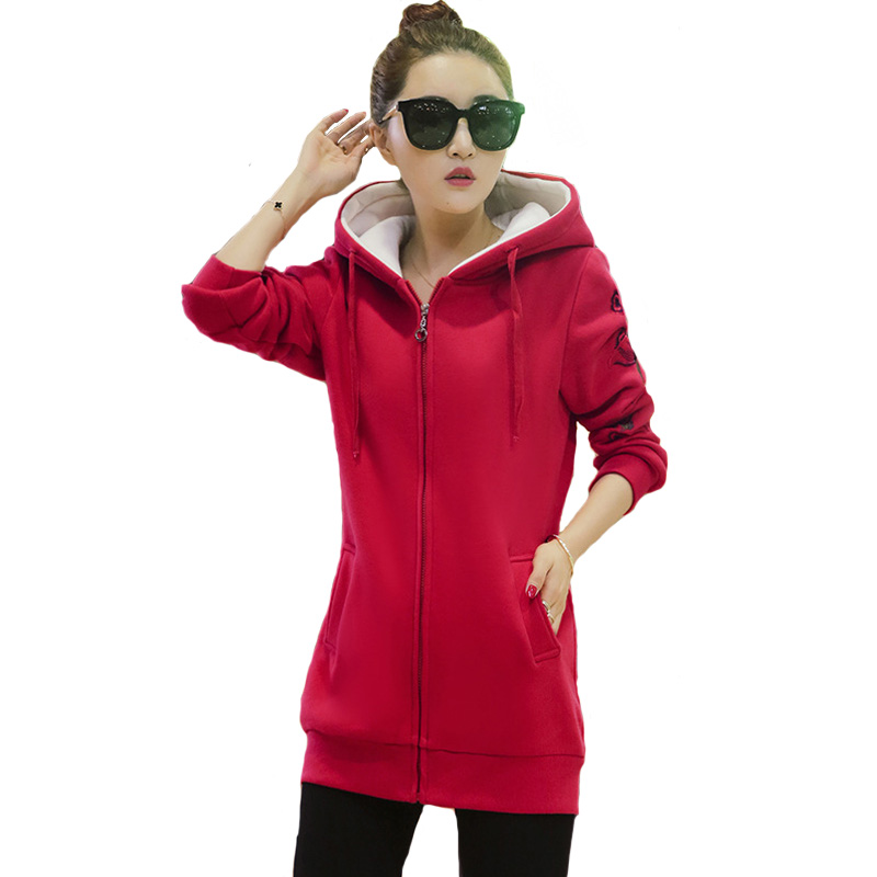 2016 New Women Winter Red Navy Jacket Coats Fleece Thick Parkas Cotton Floral Zip Hooded Outwear Plus Size Overcoat Autumn A928 new 2017 winter coat women loose plus size outwear wadded fashion jacket thick hooded cotton coats fleece warm cotton parkas
