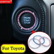 QCBXYYXH автомобиль-Стайлинг автомобиля металла Diamond переключатель зажигания кольцо для Toyota RAV4 CHR Yaris L Camry Corolla Vios Reiz Highlander Prado
