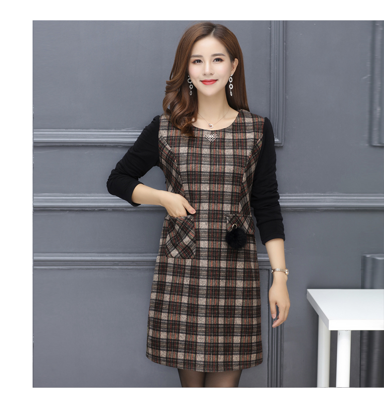 Winter Woman Elegant Tweed Dress Red Yellow Plaid Pattern Blends Robe Femme Thicken Fleece Dresses Woman Warm Shift Dress Office Outfits (11)