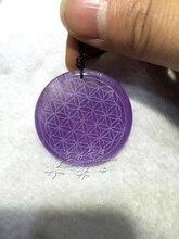 Pura natural de amatista Colgante de La Flor de Amatista Colgante de la geometría sagrada equilibrio de Energía chakra cristales Charm colgante