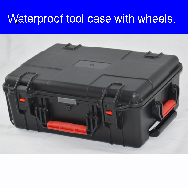 Waterproof Protective Draw Bar Box Tool Case With Pre-cut Foam Trolley Box For Precious Equipment Shipping Case