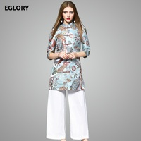 European American Style Clothing Sets Women Autumn Jacquard Print Qipao Coat Vintage Outerwar Wide Leg White