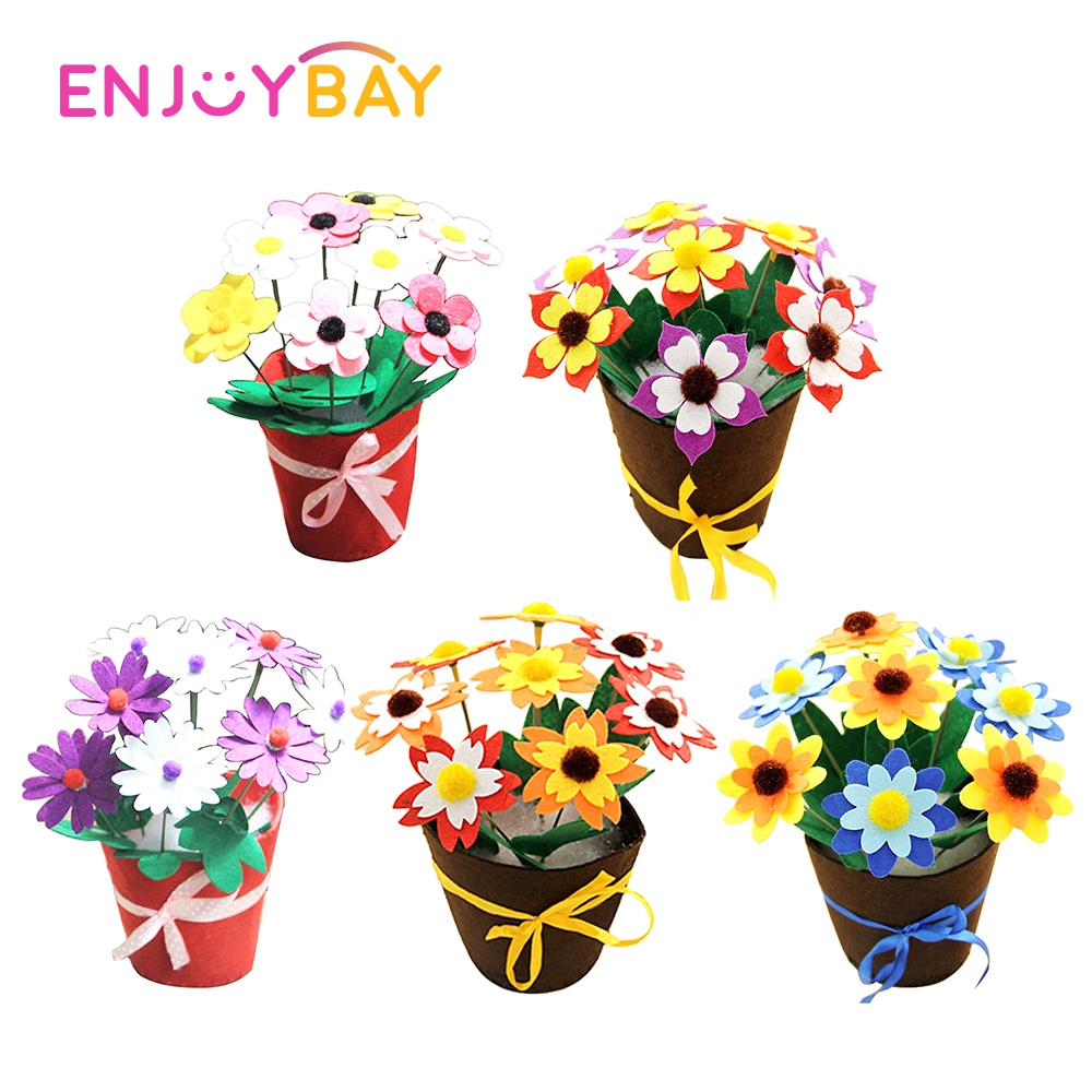 DIY Felt Toy Button Flower Craft Creative Toys For Kits Children Educational Handmade Crafts Kids DIY Flower Pot Potted Plant