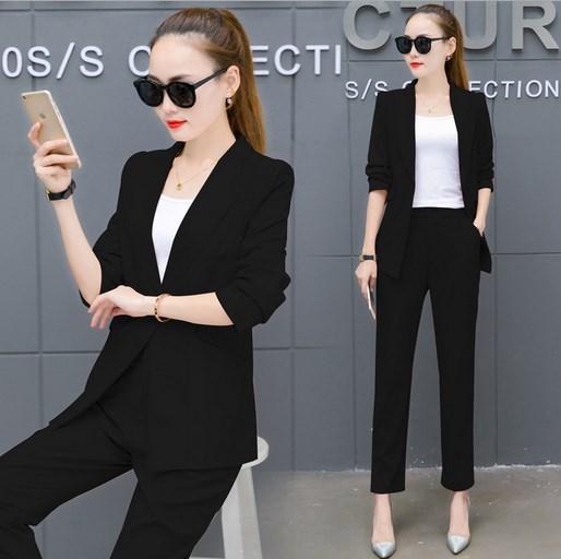 2017 Womens 2 Piece Set Black Pant Suit Office Uniform Two Piece Trouser Suit Female Pantsuit White Black Pink Yellow Orange