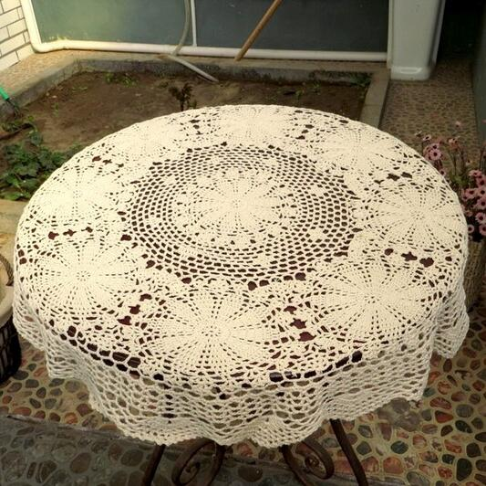 2017 Hand Crochet Lace Round Table Runner Table Cloth White Cotton Wedding  Home Decor Knit Flower Tablecloth Cover Beige White In Tablecloths From  Home ...