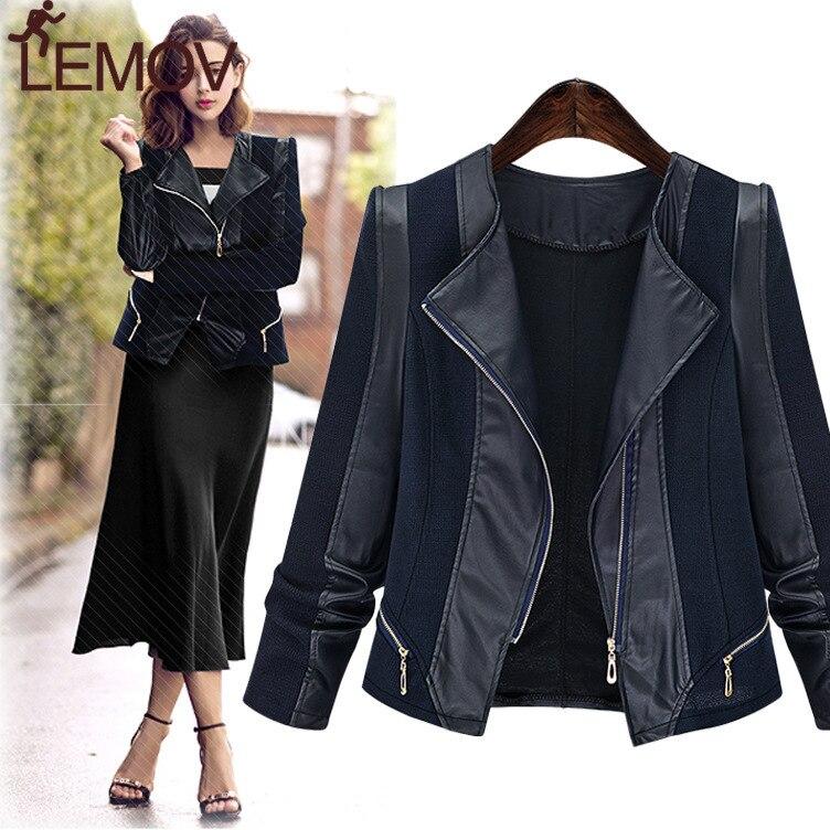 Veste en cuir femme Europe américaine grande taille mince femme à manches longues couture veste chaude