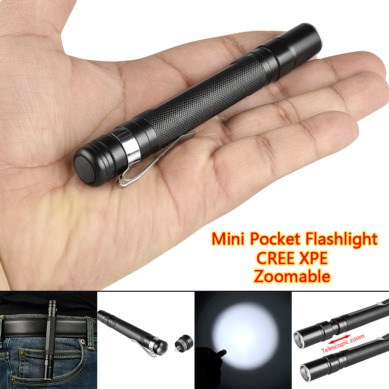 CREE-XPE LED 500 LM Flashlight Pocket Torch Light 1 Mode Telescopic Zoomable Tail-Cap Switch With Clip (AAA Battery Power)ZK87
