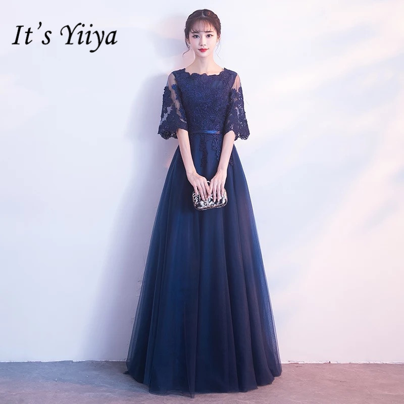 It's YiiYa Pure Color O-neck Half Sleeve Lace   Bridesmaid     Dresses   Elegant Flare Sleeve A-line Frocks H243