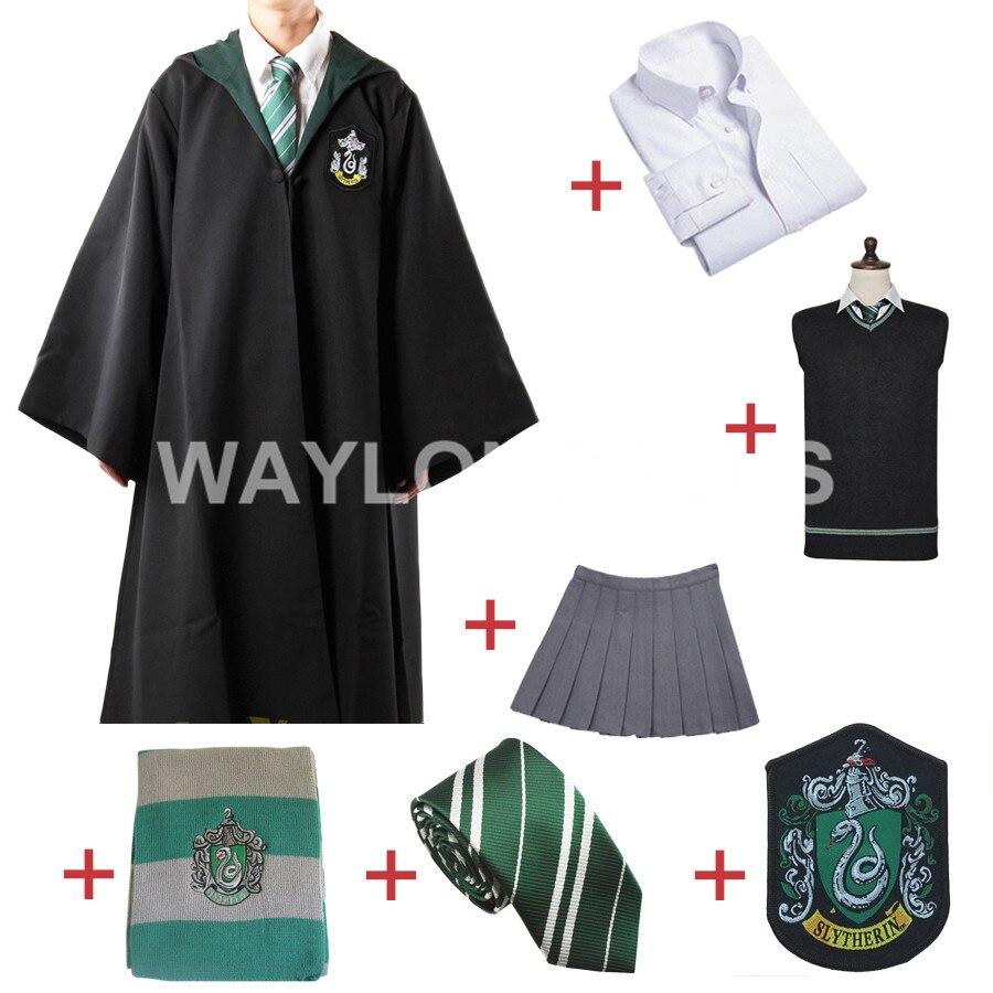 Livraison Gratuite Serpentard Cosplay Robe Manteau Pull Chandail Chemise Jupe Cravate Badge Écharpe pour Harri Potter Cosplay