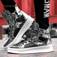 SWYIVY High top Men's Skateboarding Shoes Rivet Mirrior Reflective 2018 New Autumn Black&Silver Height Increasing Male Sneakers