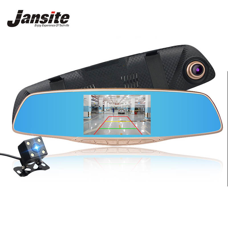 Jansite Car DVR Camera Dual Lens Rearview mirror Full HD 1080P Recorder Video Registrar Camcorder Black