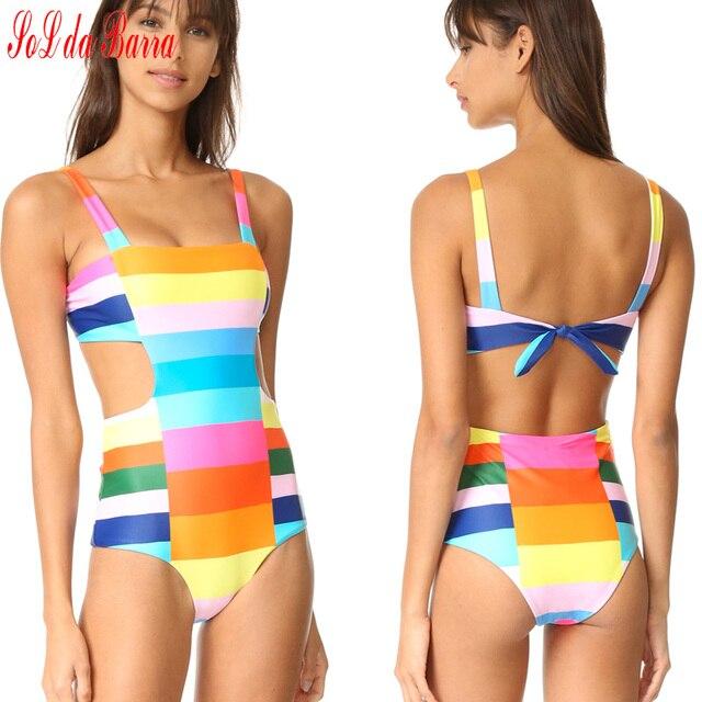 d35299de9b6 Sexy Summer Swim Wear Rainbow Color Patchwork Striped Swimsuit Women  Vintage High Waist Hollow Swimwear Push Up Bathing Suit