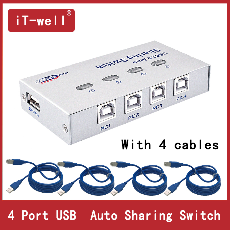 Usb Hub  4 Ports  USB Auto Sharing Switch For 4 PC  Sharing Print 4 Computers To Share 1 USB Device With 4 Cables