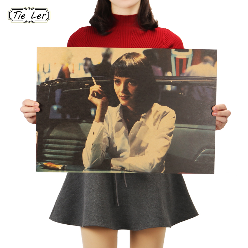 TIE LER Pulp Fiction Retro Nostalgia Classic Old Movie Poster Kraft Paper Wall Sticker Decorative Painting