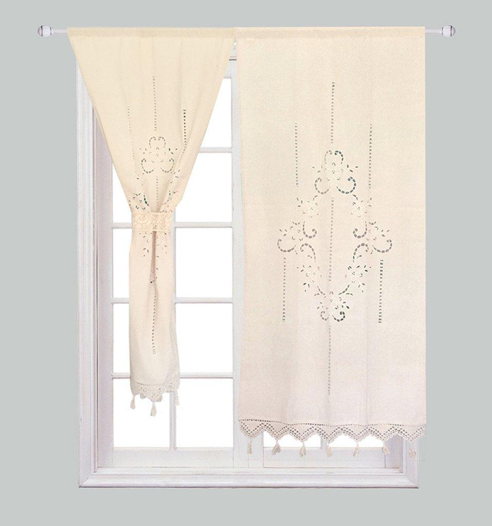 Flower Curtain Blinds Crochet Cortina Handmade Cotton Decor 2pcs Solid Kitchen