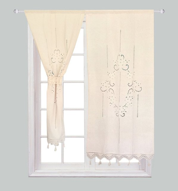 2 Pcs Handmade Cotton Cortina Crochet Lace Curtain Flower Curtain