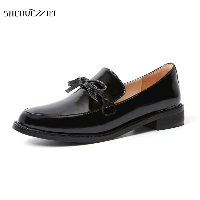 SHEHUIMEI Brand 2018 Women Flats Patent Leather Oxford Shoes Woman Loafers Vintage British Style Round Toe Handmade Casual Shoes beffery 2018 spring patent leather shoes women flats round toe casual shoes vintage british style flats platform shoes for women