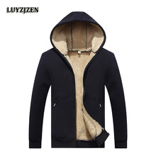2017 New Arrival Winter Thickening Hoodies Men Casual  Jacket Fur Lining Solid Warm Zipper Coats Sweatshirts Male Parkas 624