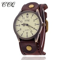 2016 CCQ Vintage Cow Leather Bracelet Watch High Quality Antique Women Wrist Watch Fashion Casual Quartz