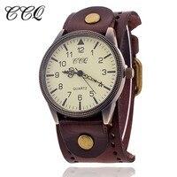 2016 CCQ Vintage Cow Leather Bracelet Watch High Quality Antique Women Wrist Watch Fashion Casual Quartz