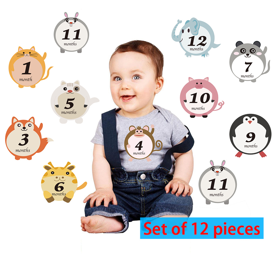 12pcs/set Cute Animals Style Baby Monthly Memory Milestone Record Cards Newborn Baby Photography Props Reusable Baby Souvenirs