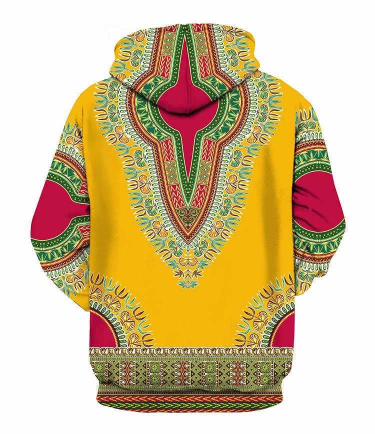 3D African Print Yellow Hoodies Sweatshirts Men Women 2018 Autumn New Hipster Tracksuit Men Sweat Homme Hip Hop Dashiki Clothing