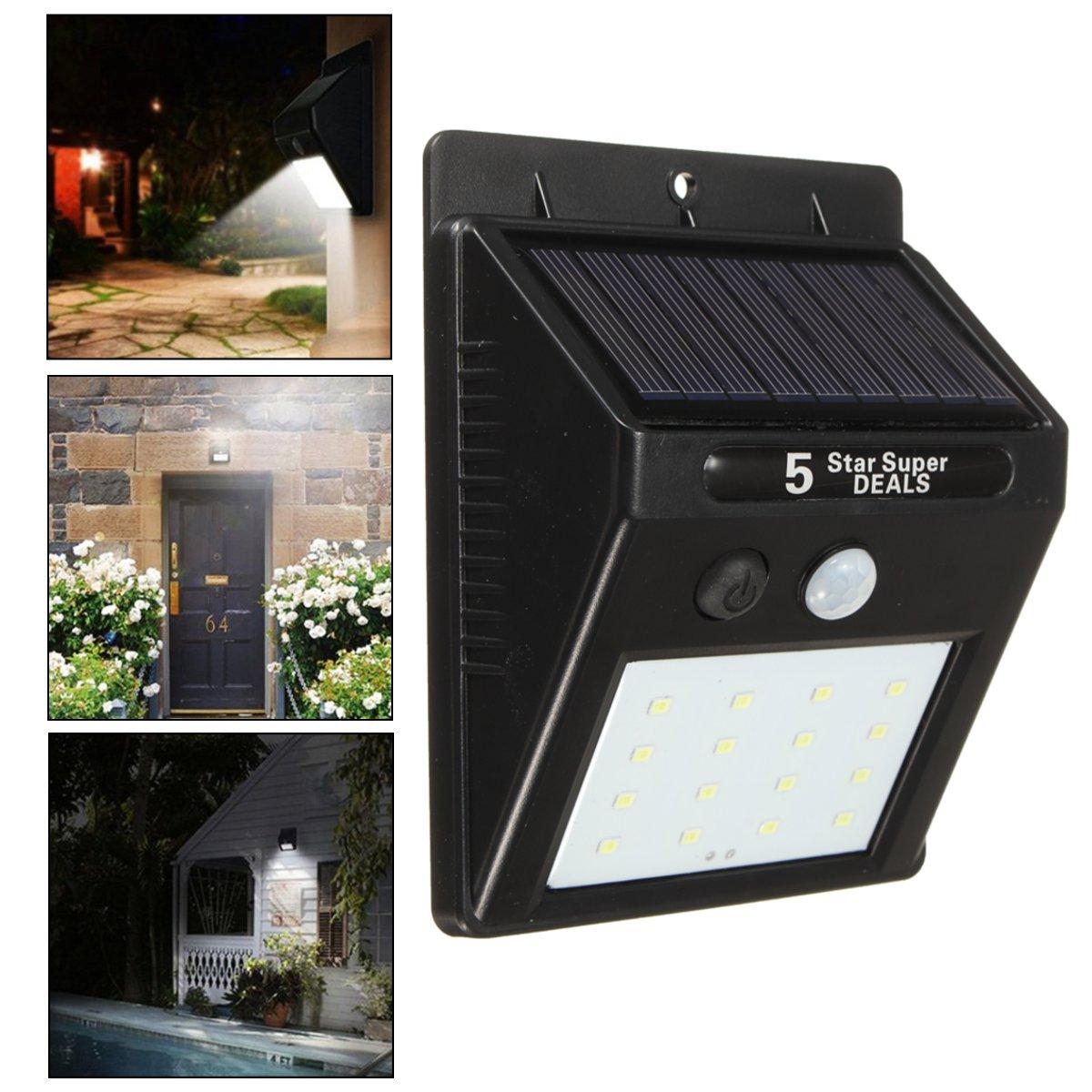 16 LED Solar Power Light Motion Sensor Garden Yard Wall Lamp Waterproof