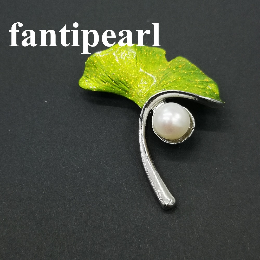 Brooches Pearl Jewelry Rhinestone Women for Suit Scarf Dress Z060 Corsage-Clips Leaves