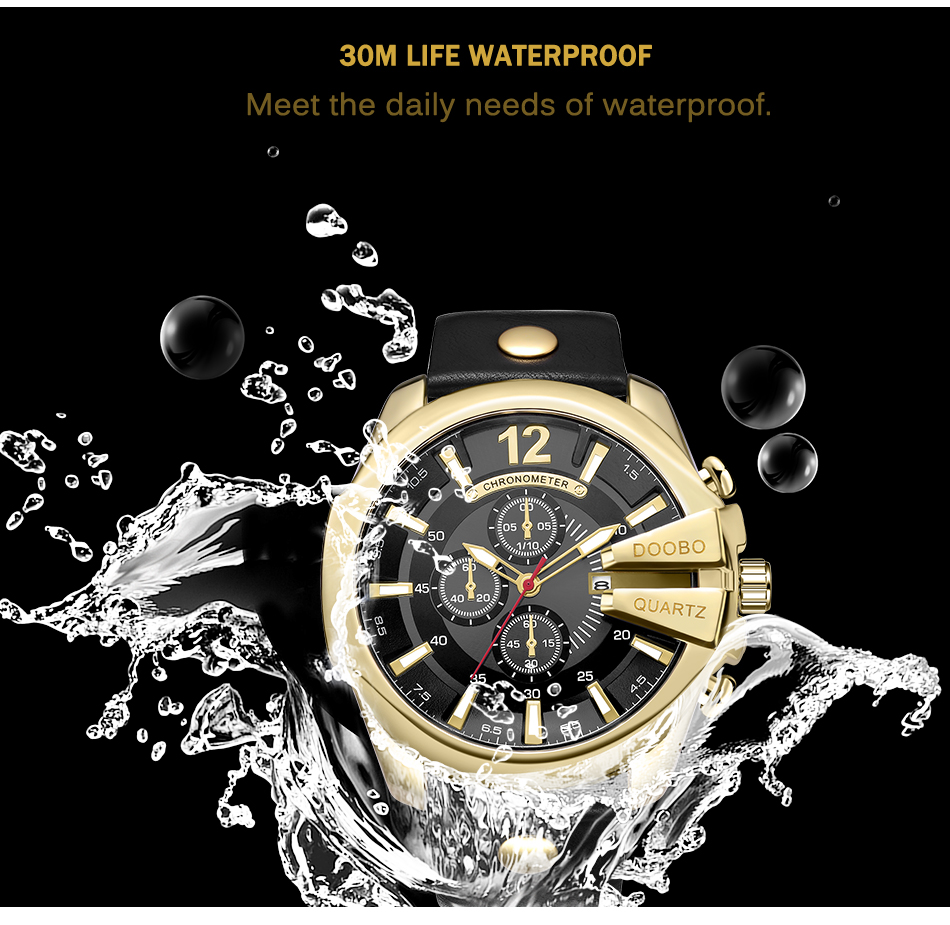 HTB1y2RmXbSYBuNjSspfq6AZCpXay DOOBO Men Watches Top Brand Luxury Gold Male Watch Fashion Leather Strap Casual sport Wristwatch With Big Dial Drop Shipping