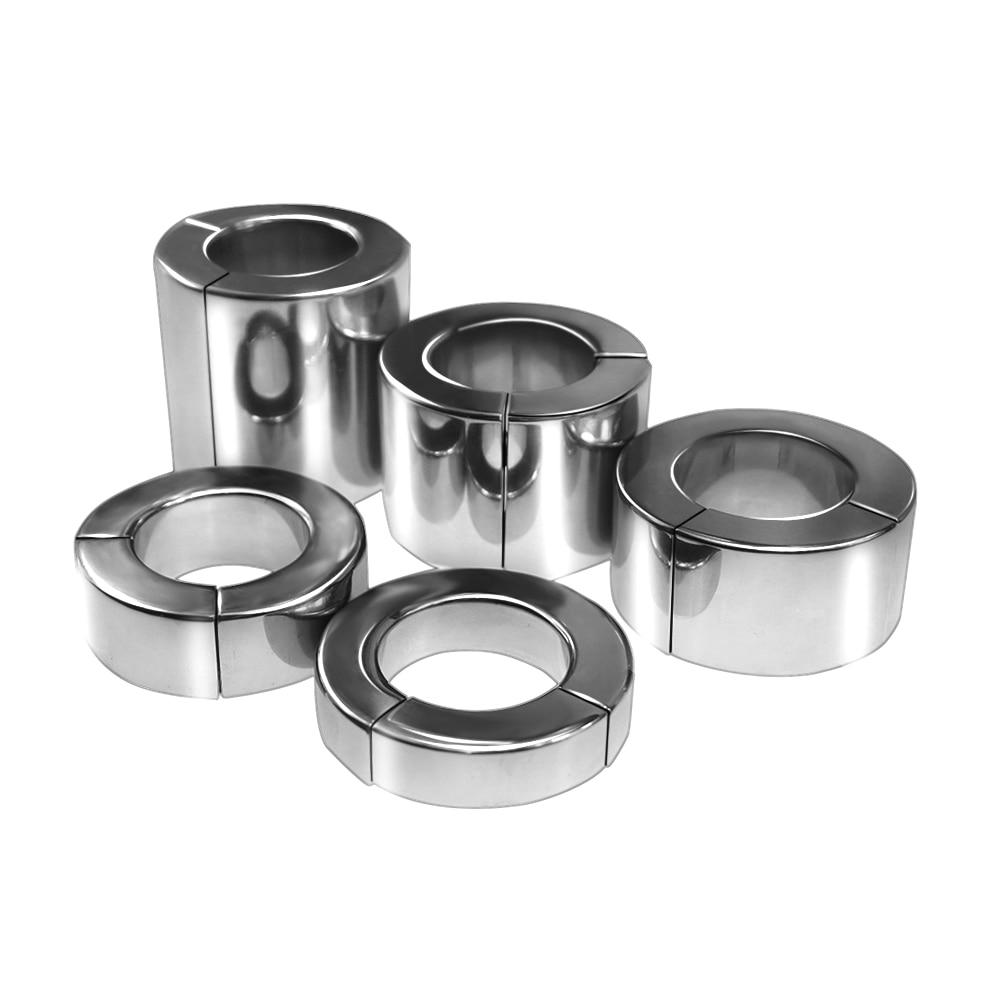 Высокопрочный Магнитный носилки для мошонки из нержавеющей стали, 14/20/30/41/56 мм, металлический пенис, кольцо для пениса, большая Мужская эрекц...