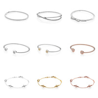 9 Style 925 Sterling Silver Bracelets Charms Bowkont Love Bean Openning Bangles Bracelets for Women fit Diy Beads Charm