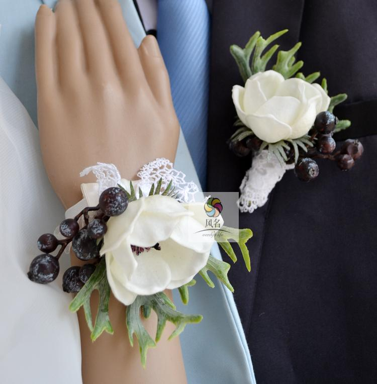 White PU Anemone Artificial Flower Wedding Floral Corsages Groom Boutonniere Bridal Hand Wrist