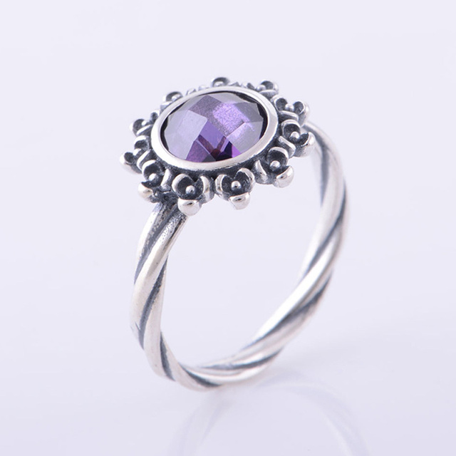 4c86ee4f4 Authentic 925 Sterling Silver Ring with Purple Stone Flora Vintage  Engagement Ring Compatible with Pandora Style Women Jewelry