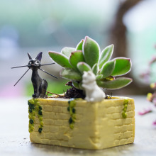 Cactus Planter Cartoon Black White Cat and Wall Resin Flowers Succulent Plants Flower pot