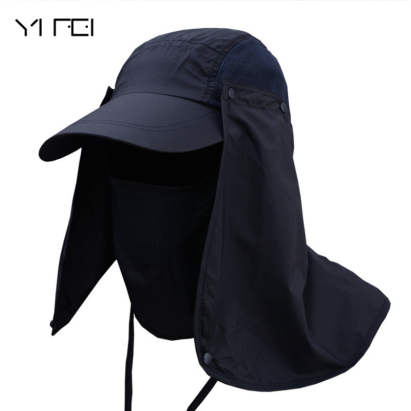 2018 Men Outdoor Fisherman Hat Professional Summer Sun Hats Protection Cap Women Neck Face Sunscreen Flap Hat Sun Mask Cap