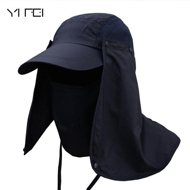 0e1616fc692 2018 Men Outdoor Fisherman Hat Professional Summer Sun Hats Protection Cap  Women Neck Face Sunscreen Flap Hat Sun Mask Cap