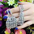 Designer Fashion 925 Sterling Silver Jewelry Platinum Plated 3A Cubic Zirconia Earring/Ring Party Set