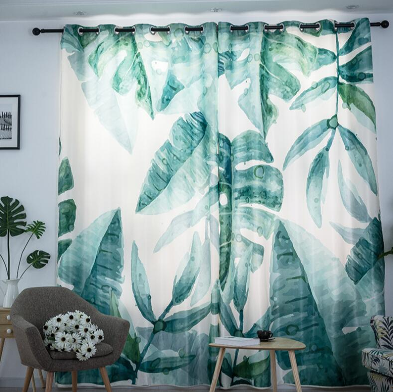 Nordic Ins Digital Printed 3d Palm Leaf Curtains For Bedroom Window Decoration Modern Style Plant Pattern Window Curtain 1pcs