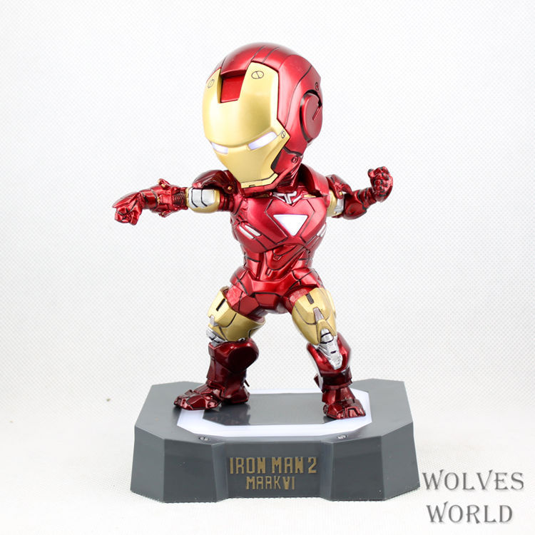SAINTGI Marvel Avengers Assemble Iron Man Mark6 with light Doll Super Heroes PVC 16CM Action Figure Collection Model Toys Dolls