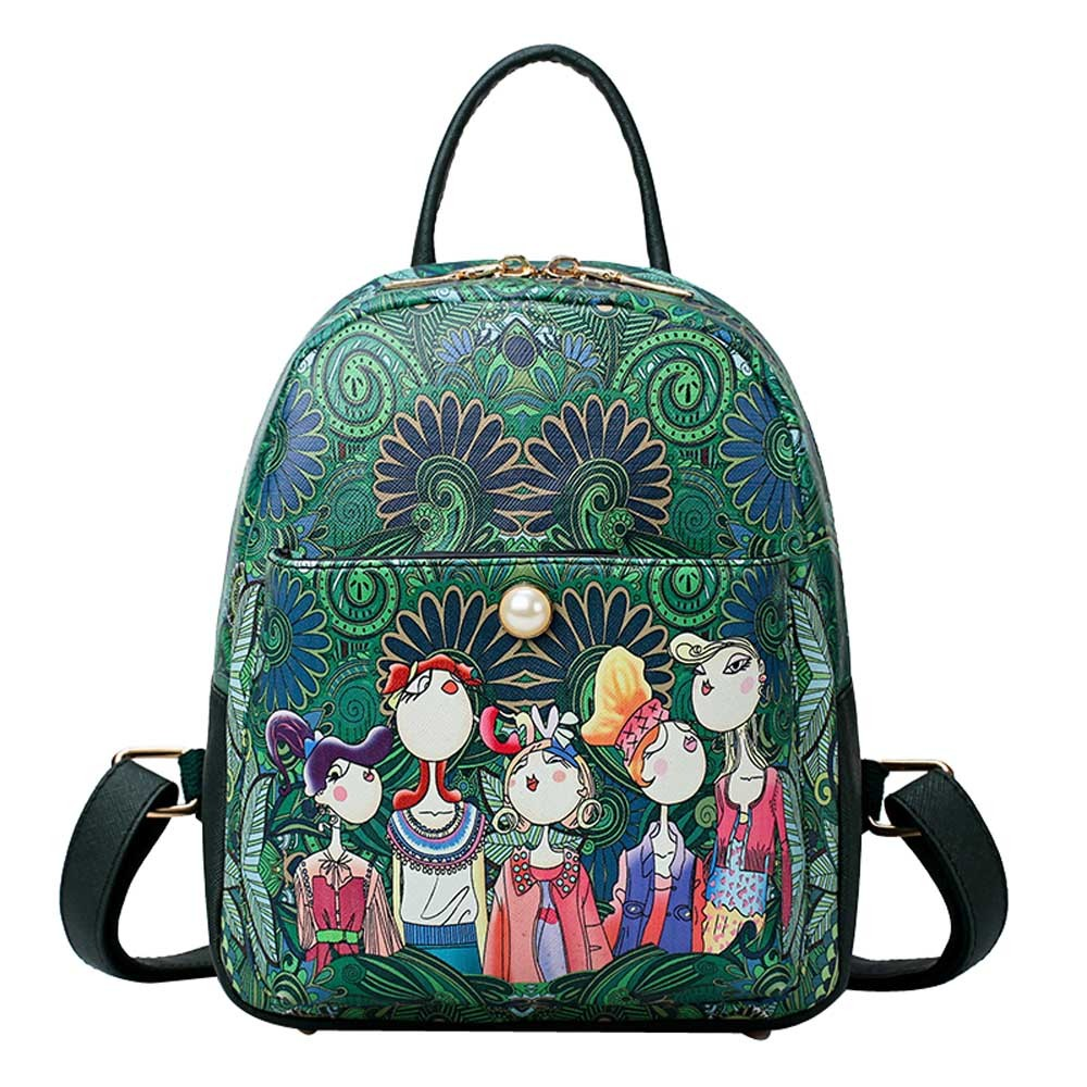 Luxury Women Forest Bagpack Famous Green Backpack 2017 Mochila Feminina Escolar Rucksack School Shoulder Bag For Teenagers Bag