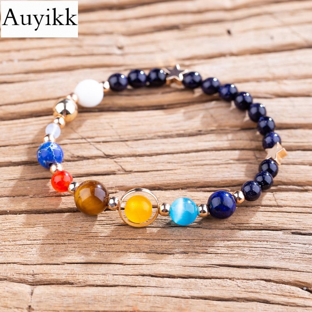 Auyikk Universe Planets Stone Beads Bangles & Bracelets Jewelry Men Natural Solar System Energy Bracelets For Women